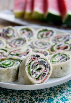 Salami, Olive and Cream Cheese Pinwheels - great for school lunches, bridal shower recipe, parties and super bowl food!