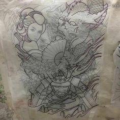 Geisha Art, Tattoo Flash Art, Samurai, Picture Tattoos, I Tattoo, Coloring Books, Tatting, Oriental, Tattoo Designs