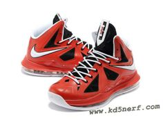 Nike Lebron 10 Shoes Red Black White Hot