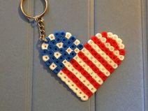 Llavero Hama Beads Corazón USA
