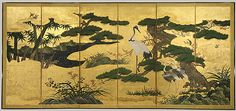Birds and Flowers of the Four Seasons, Momoyama period (1573–1615), early 17th century  Kano School  Japan  Pair of six-fold screens; color on gold-leafed paper