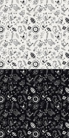 GraphicRiver Doodle Birds Seamless Patterns