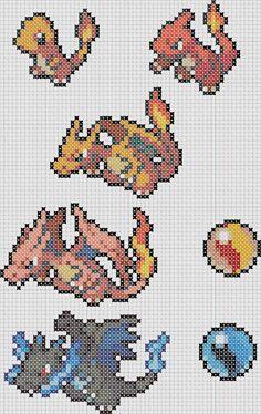 Pokemon 004 Charmander, 005 Charmeleon, 006 Charizard, Mega Charizard X & Y Menu/Box Sprites Cross Stitch Pattern