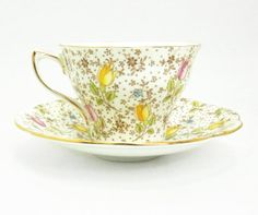 Rosina Bone China tea cup and saucer - June pattern with tulips - Made in England - Floral chintz teacup saucer set