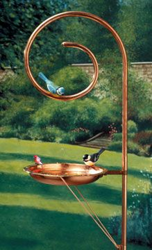 Copper birdfeeder... upright part would be easy to make & great to hang a bird feeder from too