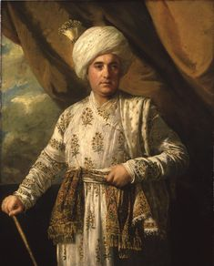Mughal robes worn by Captain John Foote of the East India Company for his portrait in 1761. In the collection of the York Museums Trust. Portrait is by Sir Joshua Reynolds