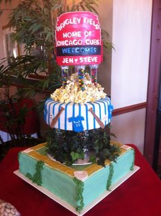 Chicago Cubs Wedding Cake by Sue