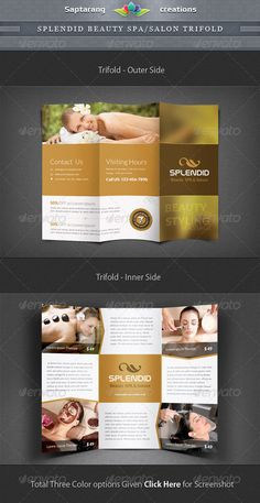 Item Specifications:Standard size Trifold  118.5 inches 3 Colors options Easy Color Change All templates with 0.125 inches bleed f Spa Brochure, Travel Brochure Template, Brochure Layout, Business Brochure, Brochure Design, Magazine Ideas, Spa Furniture, Brochure Inspiration, Design Inspiration