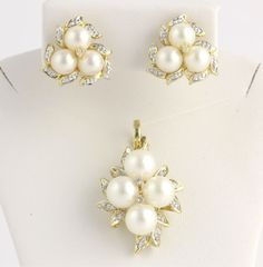Pearl & Diamond Pendant & Earring Set - 14k Yellow White Gold Genuine Akoya