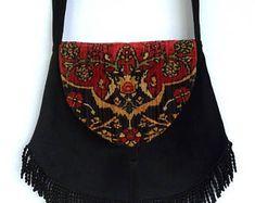 Bohemian Tapestry Bag Red and Black Velvet Renaissance Bag Large Fringe Bag Boho Fringe Bag Bohemian Purse Cross Body Hippie Bag