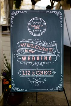 Chalkboard wedding signage is a great way to incorporate creative elements. Chalkboard Wedding, Wedding Signage, Diy Wedding, Rustic Wedding, Wedding Ideas, Wedding Reception, Chalkboard Designs, Welcome To Our Wedding, Chalk Art
