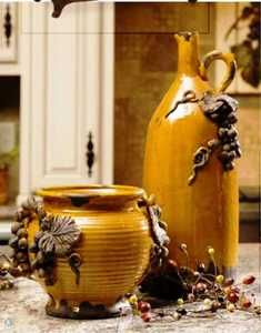 Tuscan Italia Olive Pitcher and Vase with Grape & Leaf Detailing - Find them at:  http://www.tuscanhomedecorandmore.com/tuscan-italia-olive-jar-tall-pitcher-style-vase-19/