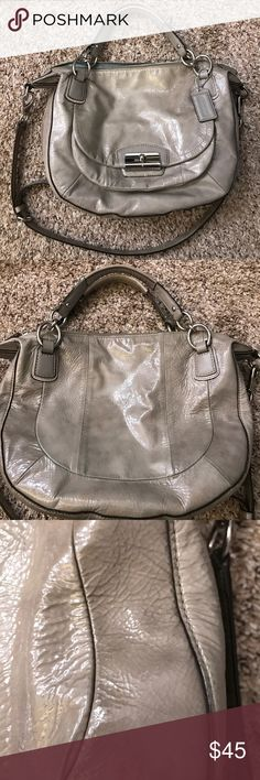 Coach Kristin crinkle patent leather gray bag guc Super cute and functional! Large size in a usable shape holds everything. Adjustable crossbody strap and shorter straps that you can slide over your shoulder. Overall good condition- flaws include peeling seal on side of hand strap, reddish-brown discoloration on back, black smudge on bottom front corner, and a dusty interior with some staining. No rips, tears, or odors. Coach Bags Crossbody Bags