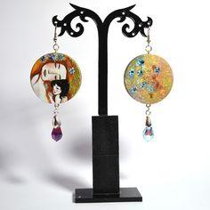 Orecchini in legno dipinti a mano – La Maternità – Klimt