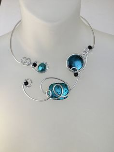 Your place to buy and sell all things handmade Teal Necklace, Wire Necklace, Wire Wrapped Necklace, Simple Necklace, Wire Bracelets, Stylish Jewelry, Modern Jewelry, Teal Jewelry, Wire Jewelry