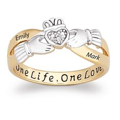 Sterling Silver Couples Two-Tone Claddagh Name Ring with Diamond Accent