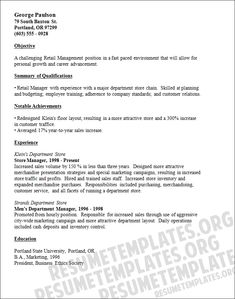 resume examples for retail store manager retail manager resume template - Retail Manager Resume Examples