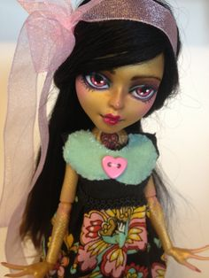 monster high custom doll  ooak monster thesleepyforest keberneteka cute kawaii repaint jinnafire