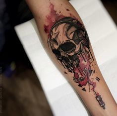 Plugged in skull tattoo by Felipe Rodrigues Fe Rod