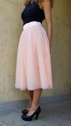 Pink Women Tulle Skirt Tea length Tutu Skirt by MDSewingAtelier-$109.00-Assorted Colors