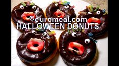 Halloween Donuts - euromeal.com Halloween Donuts, Doughnut, Pudding, Desserts, Food, Garnishing, Tailgate Desserts, Deserts, Puddings