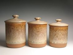 Pottery ceramic canister set by brentsmithpottery on Etsy, $98.00