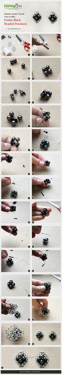 Beaded Jewelry Tutorial - How to Make Funky Black Beaded Pendants
