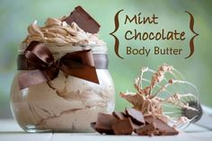 Mint Chocolate Body Butter and other DIY organic beauty recipes – Homegrown in the Valley - DIY Beauty Secrets 2020 Diy Organic Beauty Recipes, Homemade Beauty Products, Homemade Body Butter, Whipped Body Butter, Shea Butter, Cocoa Butter, Almond Butter, Diy Cosmetic, Menta Chocolate