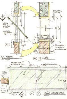 Resultado de imagem para detalhe de janela pingadeira Design Interiores, Presentation, Floor Plans, Projects, Shopping, Windows, Garages, Renovation, Sketch
