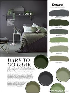 Dare to go dark. take cosy to another level by adding rich greys and greens to your bedroom's canvas. most of the time spent in the bedroom is at night, Bedroom Green, Home Bedroom, Bedroom Decor, Dark Gray Bedroom, Bedrooms, Brown Furniture, Colorful Furniture, Dark Green Living Room, Bedroom Canvas