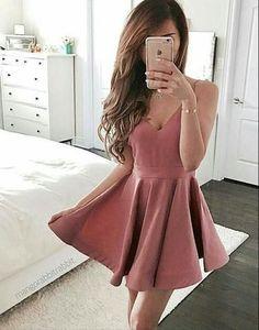 Dark pink v neck short prom dress, cute homecoming dress,BD172704