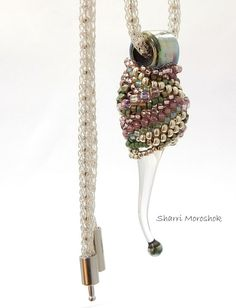 Beaded Glass Pod - pendant or ornament - beading by Sharri Moroshok art glass by Patricia Larsen