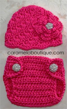 Hot Pink Elegant Baby Girl Hat and Diaper Cover with Pearls-Baby Girl Photo Props-Newborn Photo Props-Crochet Newborn Hat and Diaper Cover