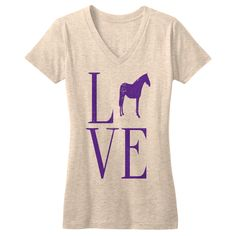 LOVE- natural heather triblend women/junior tee. Available now! onehorsethreads.com #equestrianstyle #equestrian #tee