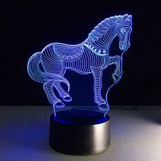 3D Dancing Horse LED Night Light/Lamp (7 changable colors) | Optical Illusion