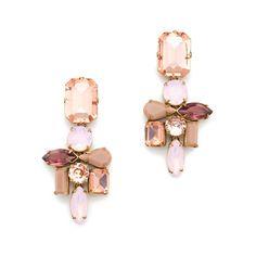 "A mix of shapes and sizes makes these shimmery earrings total conversation starters. <ul><li>Length: 2 3/8"".</li><li>Brass casting, glass and epoxy stones.</li><li>Light gold ox plating.</li><li>Import.</li></ul>"