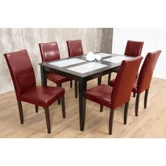 Warehouse of Tiffany's 7-piece Red Shino Dining Set | Overstock.com Shopping - Big Discounts on Warehouse of Tiffany Dining Sets