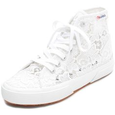 Superga Macrame High Top Sneakers ($100) ❤ liked on Polyvore featuring shoes, sneakers, white, superga high tops, lace sneakers, hi tops, lace shoes and white trainers