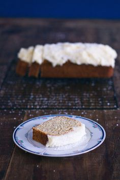 Banana bread with coconut frosting - Blackbirds & Blossom