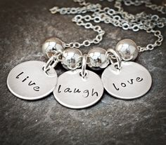 Hand Stamped Jewelry- Live Laugh Love Quotes- Sterling Silver Discs and Beads  The Vintage Chain Plano, TX $40