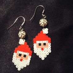 Santa Christmas earrings hama mini beads by ragnagbye