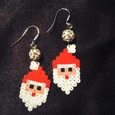 Santa Christmas earrings hama mini beads by ragnagbye