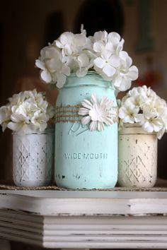 Mason Vases - Set of 3 - Distressed Chalk Finish