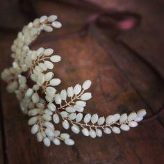 Grecian inspired mother of pearl headdress  www.vintagebuttonbridaldesigns.co.uk