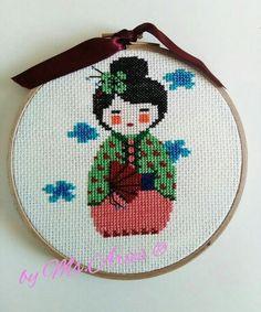 Geisha Hoop Art / Handmade / Gift / Cross Stitch / Wall Art / Wall Hanging by AtelierbyMsAries on Etsy