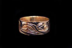 """Raven Ring, Joe Decoteaux. Sterling silver, 0.38"""". Northwest Coast First Nations Jewelry."""