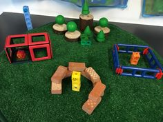 Numberblocks themed small world, three little pigs.