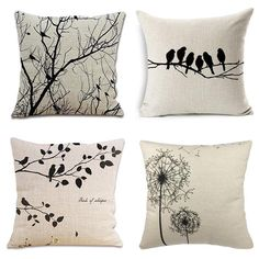 Casual Simple Style Decorative Cushion Cover Cotton Linen Square Throw Pillow