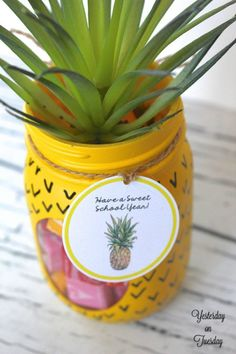 """""""Have a Sweet School Year"""" Pineapple Gift Tag Printables 