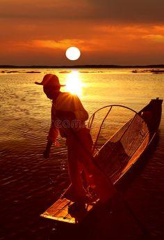 Photo about Traditional fisherman at sunset, Inle Lake, Myanmar (Burma). Image of light, oars, rangoon - 29793565 Inle Lake, Pattern Drawing, Design Patterns, Traditional Art, Royalty Free Stock Photos, Sunset, Drawings, Fun, Outdoor